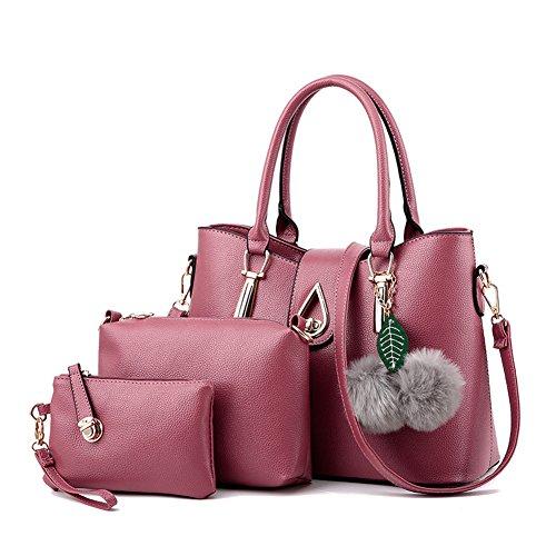 3 Pièces Sacs Pour Femmes en PU Cuir Vintage Sac à main / Sac à bandoulière Pochette Gris clair Rose