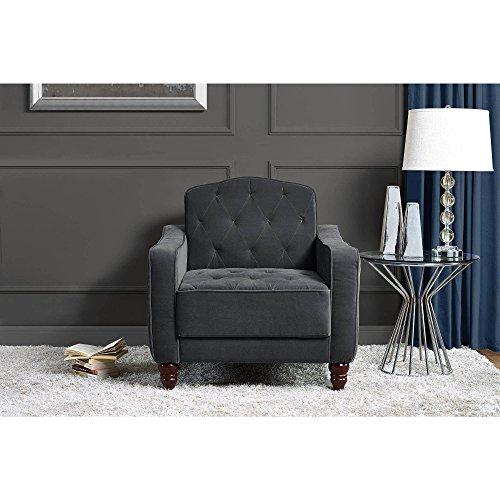 Novogratz 2132459N Vintage Tufted Armchair, Gray