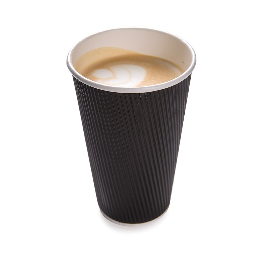 500-CT Disposable Black 16-OZ Hot Beverage Cups with Ripple Wall Design: No Need for Sleeves – Perfect for Cafes – Eco-Friendly Recyclable Paper – Insulated – Wholesale Takeout Coffee Cup