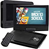 SUNPIN 11' Portable DVD Player for Car with 9.5 Inch HD Swivel Screen, 5 Hours Rechargeable Battery, Dual Earphone Jack, Supports SD Card/USB/CD/DVD, with Extra Headrest Mount Case (Black)