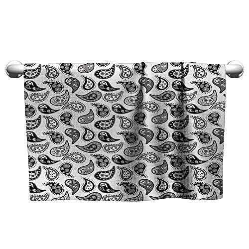 alisoso Paisley,Yoga Towels Design in Different Types with Flowers Circles and Tiny Teadrops Detailed Art Bath Towels for Kids Grey and Black W 14