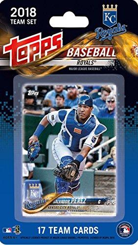 2018 Topps Baseball Factory Kansas City Royals Team Set of 17 Cards which includes: Salvador Perez(#KR-1), Jorge Soler(#KR-2), Raul Mondesi(#KR-3), Ian Kennedy(#KR-4), Cheslor Cuthbert(#KR-5), Danny Duffy(#KR-6), Drew Butera(#KR-7), Brandon Moss(#KR-8), Alex Gordon(#KR-9), Trevor Cahill(#KR-10), Nathan Karns(#KR-11), Jason Hammel(#KR-12), Whit Merrifield(#KR-13), Kelvin Herrera(#KR-14), Mike Moustakas(#KR-15), Jorge Bonifacio(#KR-16), Eric Hosmer(#KR-17)