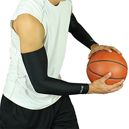 Vive Arm Compression Sleeve (Pair) - Men, Woman Full Elbow Support Wrap - Cooling UV Sun Protection - Post Surgery Recovery - for Basketball, Football, Crossfit, Golfing, Running Sports, Tattoo Cover