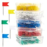 Map Flag Push Pins - 500-Pack Flag Thumb Tacks, Decorative Push Tacks Colored Marking Pins for Cork Board Bulletin Board, Office, School - Red, Yellow, Green, White and Blue - 0.7 x 1.3 inches