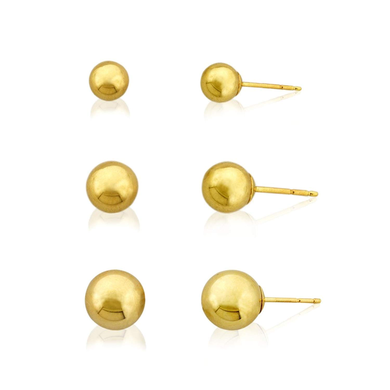 3-Pair 10K Yellow Gold Ball Earrings Set- 4mm, 5mm, 6mm
