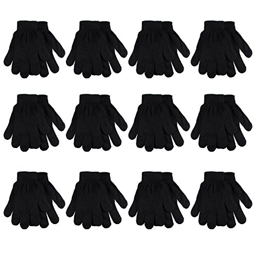 Magic Gloves Childrens (Gelante Adult Winter Knitted Magic Gloves Wholesale Lot 12 Pairs 9901-Black-12 Pairs)
