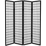 Oriental Furniture 6 ft. Tall Canvas Window Pane Room Divider - Black - 4 Panels