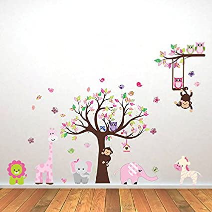 Wall Stickers Baby Products Discountfan Large Colorful Tree Jungle Animals Wall Sticker Nursery Bedroom Wall Art Decor Cute Giraffe Monkey Owl Tree Art Wall Stickers Kids Room Removable Decal Baby Bedroom