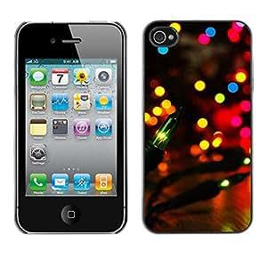 QCASE / Apple Iphone 4 / 4S / luces de la ciudad del partido colorido brillante de la noche de la linterna / Delgado Negro Plástico caso cubierta Shell Armor Funda Case Cover