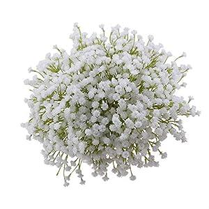 MARJON FlowersBaby Breath Artificial Flower Fake Real Touch Gypsophila DIY Floral White Bouquet Arrangment for Wedding Bridal Party Home Garden Decor,White (11pcs) 51