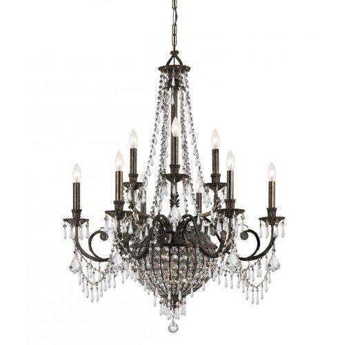 Crystorama 5168-EB-CL-MWP Crystal Accents Twelve Light Chandeliers from Vanderbilt collection in Bronze/Darkfinish,