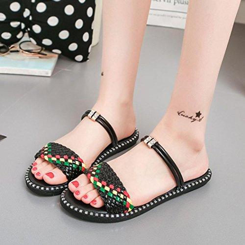 Hunpta Frauen Sommer Schuhe gemischte Farbe flach mit Gladiator Slides Flop Schwarz