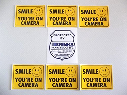 1 BRINKS + 6 ADT'L SMILE YOURE ON CAMERA HOME SECURITY STICKERS - Tint Red Arlo