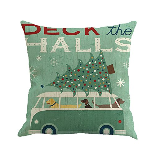 Clearance Christmas Pillow Cases Vintage Retro Santa Claus Car Tree Cotton Linen Decorative Pillow Covers Home Decors Soft Sofa Cushion Covers Throw Pillow Cases Home Decorations - 18x18 inch (C)