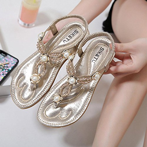 Sandals Gold Outdoor Shoes With Women's Lady Shoes Design Elastic Slipper Momola Pearl Beach Toe Ankle Strap Flops Ladies Bead Crystal Peep Flip Bohemia Flat SwvAq