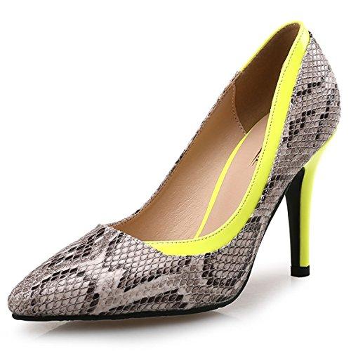 DIMAOL Chaussures Pour Femmes Microfibre Synthétique PU Printemps Automne Comfort Heels Talon Chaussures Pour Joint de Séparation Partie & Soirée Robe Fuchsia, Jaune,US6/EU36/UK4/CN36