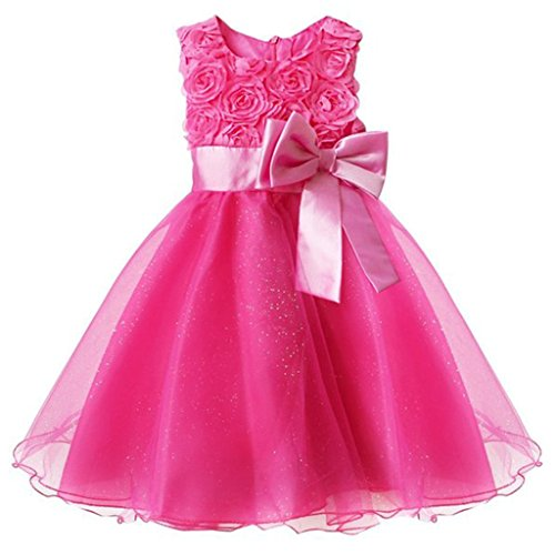 Kids Showtime Little Girl Infant Newborn Baby Flower Party Wedding Gown Bridesmaid Dress(Hot pink,6-12M)