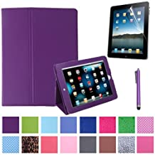 HDE Folding Leather Folio Case Cover Stand for iPad 1st Generation w/ Screen Protector & Matching Stylus (Purple)
