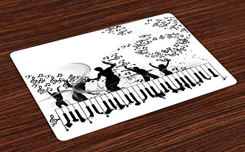 Lunarable Musical Place Mats Set of 4, Party Dancers on Piano Keyboards and Twisted Music Note Line Stripes, Washable Fabric Placemats for Dining Room Kitchen Table Decor, Black White ()