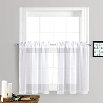 NICETOWN Sheer Curtains for Kitchen Window - Home Fashion Faux Linen Rod  Pocket Voile Drapes for Small Windows (White, Set of 2 Panels, 55 inches  Wide ...