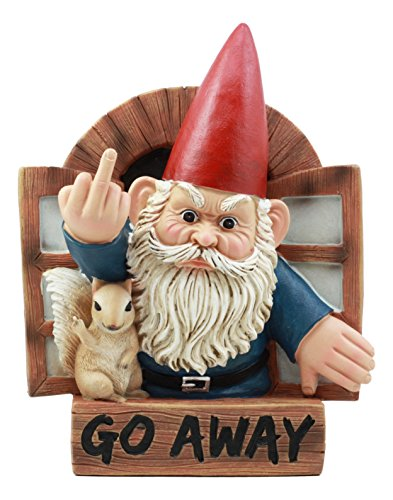 """Ebros Go Away Rude Gnome and His Squirrel at The Window Flipping Off Guests Wall Decor 9"""" H Whimsical Grumpy Gnome Wall Plaque"""