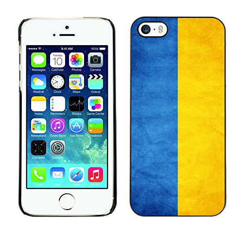 Omega Case PC Polycarbonate Cas Coque Drapeau - Apple iPhone 5 / 5S ( Ukraine Grunge Flag )