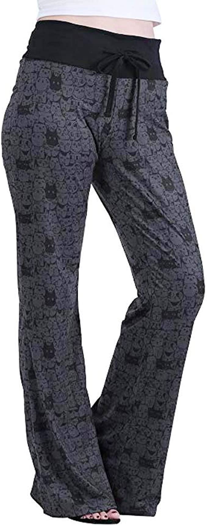 ZSBAYU Women Comfy Casual Pajama Pants High Waist Stretch Floral Print Drawstring Palazzo Lounge Pants Wide Leg