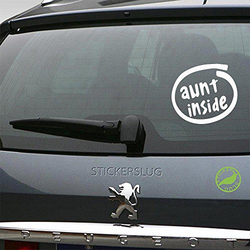 Stickerslug Aunt Inside Decal (Gloss White, 8 inch) for car Truck Window SUV Boat Motorcycle and All Other auto Glass and Bumper in Gloss Vinyl