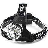 CREE XML T6 LED Headlight Headlamp Torch Flashlight 1600lm + 2 x Rechargeable 18650 Battery, Waterproof Design