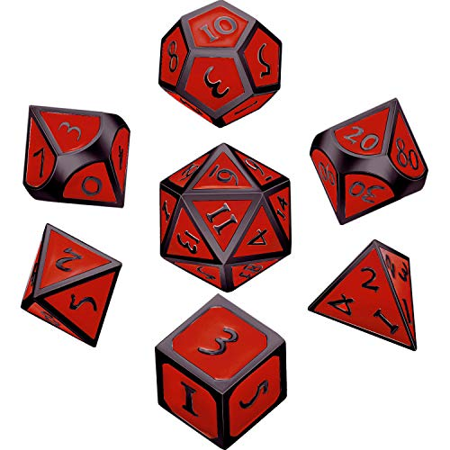 - Hestya 7 Pieces Metal Dices Set DND Game Polyhedral Solid Metal D&D Dice Set with Storage Bag and Zinc Alloy with Enamel for Role Playing Game Dungeons and Dragons (Black Nickel red)