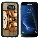 MSD Premium Samsung Galaxy S7 Aluminum Backplate Bumper Snap Case old fashioned vintage copper clock on wooden background IMAGE 25654216