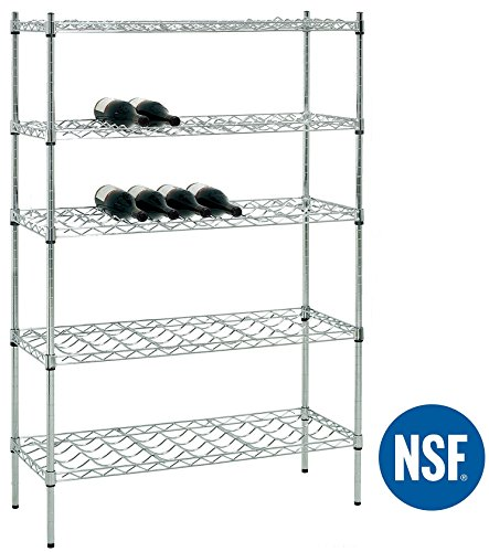 eeZe Rack ETI-012 5-Tier Chrome Wine Rack, Wine Shelving, NSF Certified, (36x14x55-inches) (Chrome) (Chrome Wine Rack)