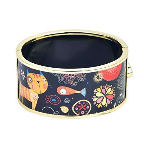 Cat & Fish Fantasy World Art Illustration Printed Hinged Bangle