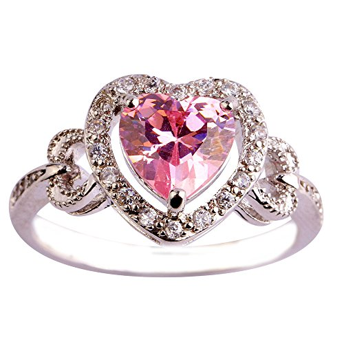 Emsione 925 Silver Plated Triple Heart Cut Created Claddagh Pink Topaz CZ Women Ring Size 6-9