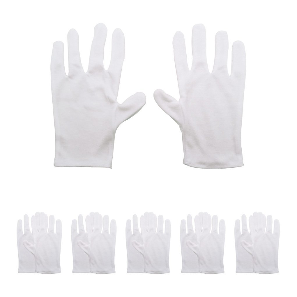 6 Pairs White Cotton Gloves - HYHP Cotton Cosmetic Moisturizing Gloves Hand Spa Gloves