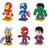 KATERT 6 Box Hero Characters Diamond Block Miniature Building Blocks Kit Parent-child DIY Games Building Blocks Children's Educational Toys Party Supplies Collection