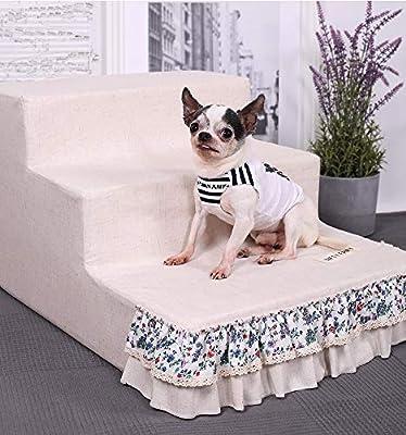 LXLA - escalera para perros de Color Rosa for Altas Camas y sofá Cama, Escaleras 3 Pasos for Mascotas con extraíble y Lavable a la Parte Inferior Antideslizante - 33cm de Altura:
