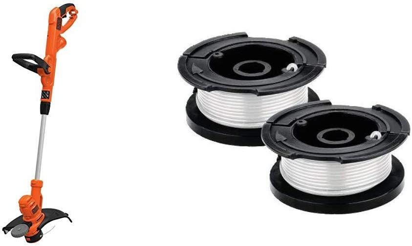 BLACK+DECKER String Trimmer with Trimmer Line Replacement Spool, Autofeed 30 ft, 0.065-Inch, 2-Pack (BESTA510 & AF100-2)