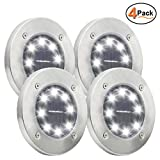Maggift Solar Ground Lights, 8 LED Garden Pathway Outdoor In-Ground Lights, 4 Pack (White)