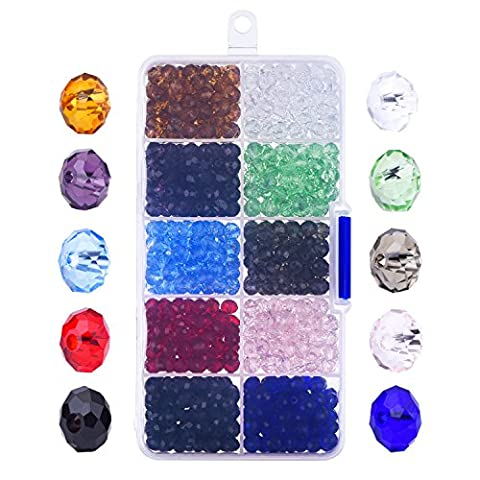 Outus 800 Pieces 6mm Briolette Faceted Glass Beads Crystal Rondelles Bead with Box and Clean Cloth