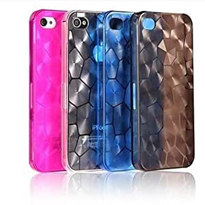 Godlike- ships in 48 hours Water Cube Transparent Back Case for iPhone 4/4S(Assorted Color) , Black