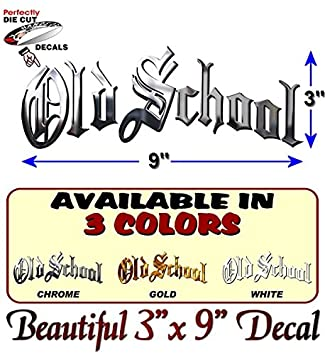 Chrome Print OLD SCHOOL Vinyl 9 Decal Retro Rockabilly Classic JDM Funny Car Window Sticker