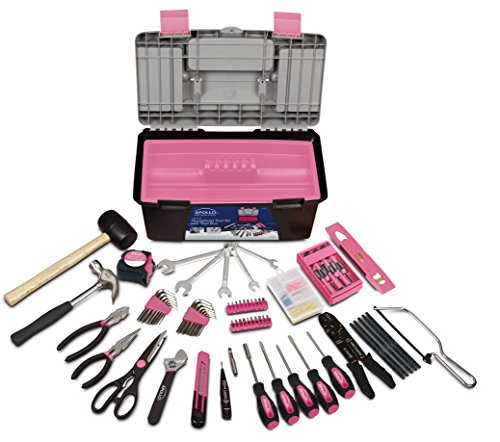 Apollo Tools DT7102P Household Tool Kit with Tool Box, Pink, 170-Piece, Donation Made to Breast Cancer Research