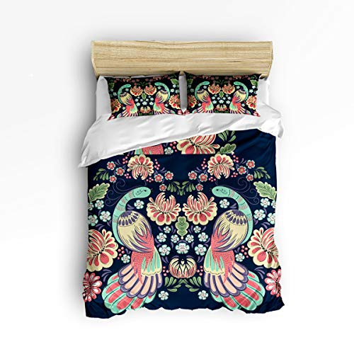 (YEHO Art Gallery , Chinese Style Phoenix with Flowers Birds Pattern Cute 3 Piece Duvet Cover Sets for Boys Girls, Cute Decorative Bedding Set Include 1 Comforter Cover with 2 Pillow Cases Twin Size)