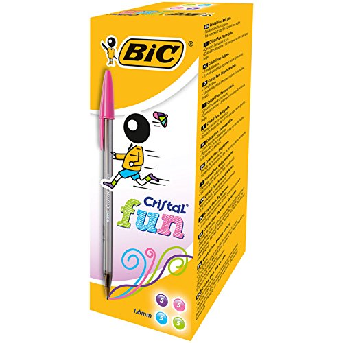 BIC Cristal Fun Ballpoint Pens Wide Point (1.6 mm) - Assorted Colours, Box of 20