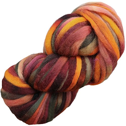 Living Dreams SUPER ZIPPY Hand Dyed Extra Bulky Wool Roving Yarn for Knitting Crochet Weaving & Boho Wall Art. Made in USA. Sedona