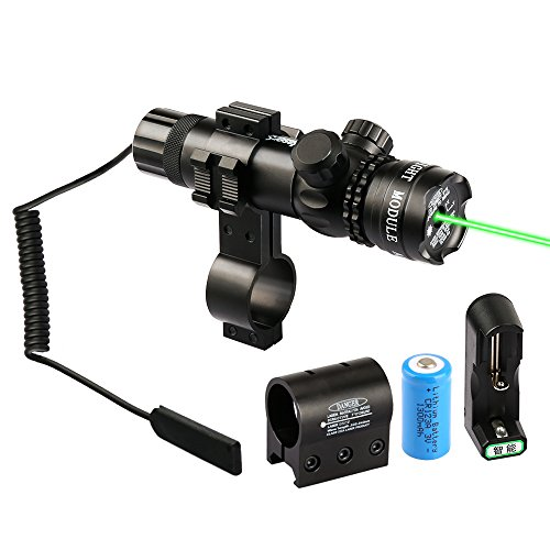 Reson Shockproof Rifle Sight Tactical Power 532nm Green Dot Laser Scope,Adjustable Laser Sights For Gun Hunting with 2 Mounts,2 Pressure Switches,Battery and Charger Kit