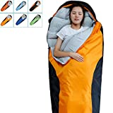 FARLAND Camping Sleeping Bag-Envelope Mummy Outdoor Lightweight Portable Waterproof Perfect for 20 degree Traveling,Hiking Activities(Orange & Black/Right Zip, Mummy)