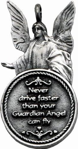 "Cathedral Art KT217 Guardian Angel""Never drive faster..."" Ball Chain Car Charm"