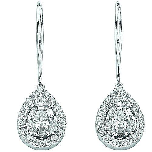 Jareeya-Or blanc 18ct 1,70CT Solitaire et baguette Diamant Pendants d'oreilles